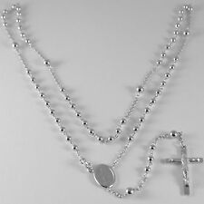 NECKLACE ROSARY WHITE GOLD 750 18K MEDAL MIRACULOUS CROSS 52 CM MADE IN ITALY