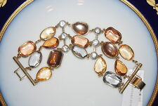 CHARTER CLUB LARGE RUNWAY ACRYLIC MULTICOLORED STONES GOLD TONED LINK BRACELET