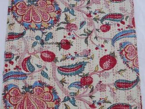 FLORAL DESIGN BEDSPREAD KANTHA QUILT QUEEN SIZE BLANKET HOME DECOR THROW