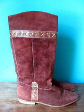 VINTAGE 1970s Womens DINGO 9.5M Rust Red Suede Riding Western Cowboy Boots 8.5N