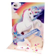 "Popshots Pop Up Sight & Sound Musical Greetings Card 5"" x 7"" Unicorn and Rainbow"