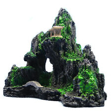 Mountain View Aquarium Ornament Rock Cave Stone Bridge Tree Fish Tank Decoration
