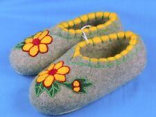 100% Wool Felt Handmade Embroidery Winter Slippers Booties House Shoes Valenki *