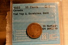 1893 Flat Top 3 Canada 10 Cents - Silver - G Four - Scratch & Bent
