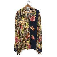 We Be Bop Leopard Print Rayon Blouse Womens 5X Plus Roses Beaded Long Sleeve