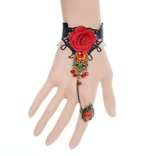 Gothic Rose Lace Bracelet Adjustable Finger Ring Red Beads Sexy Crystal Jewelry