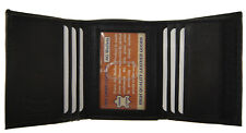 Mens Trifold Credit Card Window ID License Secure Nylon fastener Leather Wallet