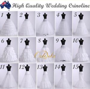 WHITE WEDDING DRESS BRIDAL  PETTICOAT UNDERSKIRT SKIRT CRINOLINE 15 Styles