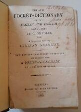 C. GRAGLIA NEW POCKET DICTIONARY ITALIAN ENGLISH MARINE VOCABULARY GENOA GRAVIER