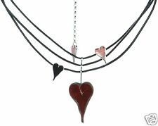 Menegatti Solid 925 Sterling Silver Enamel Heart Necklace '