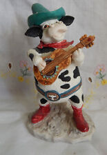 HOME ON THE RANGE RUSS COW WITH GUITAR 4 3/4""