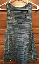 Tangerine Sport Tank Top M Size Stretch Blue Green Activewear Striped Racer B323