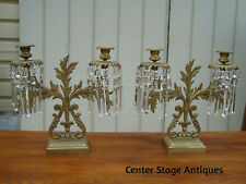 60137 Pair Antique Victorian Candelabra Candle Holder with Prisms