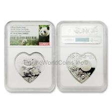 China 2018 Valentine Bamboo Panda 1 oz Silver Heart-shaped NGC PF70 UC SKU#6468