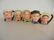 "Royal Doulton Lot Of 5 Charles Dickens Tinies Mini Toby Jugs 1 1/2 "" - Mint"