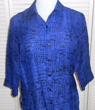 CHICO'S BLOUSE SHIRT size 1/6/8 Blue Black SILK 3/4 Sleeve Womens