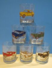 NEW~VINTAGE ~ CUSTOM DECO INC. ~ 60's CARS ~ GOLD OLD FASHION GLASS SET OF 6 +