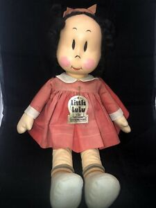"VINTAGE 1930's RARE LITTLE LULU KNICKERBOCKER TOY CO NY 18"" CLOTH DOLL"