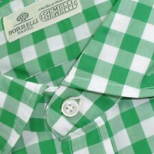 100% new LUIGI BORRELLI shirt green white check 40 - 15 3/4 160391