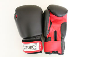 ProForce Boxing Gloves 12 ounce Black Leatherette with Red Palm Brand new