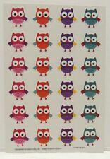 Owl Stickers - 1 Full Sheet of 24 OWLS - Pink Orange Purple Teal Owl Stickers