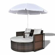 Patio Outdoor Brown Furniture Rattan & Wicker Lounge Set Sunbed Sofa w/ Parasol