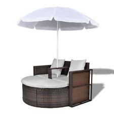 vidaXL Outdoor Lounge Set Poly Rattan Wicker Brown Sunbed Sofa Parasol Garden