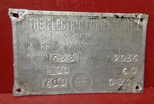 VINTAGE THE ELECTRIC FURNACE CO MOTOR ID INFORMATION NAME PLATE STEAMPUNK