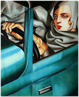 Autoritratto in bugatti verde - Hand Painted Lempicka Oil Painting 20x24""