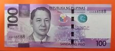 100 Pesos banknote Philippines 2018 unique serial#CH888588 uncirculated