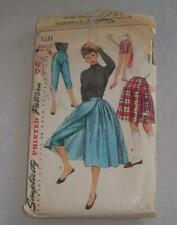 Vintage Women Sewing Pattern Wrap Skirt Pants 1955 Simplicity 1231