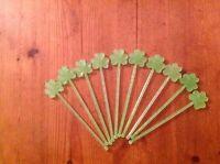 100 x shamrock Irish drinks stirrer stirrers Swizzle stick