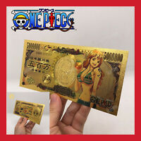BILLET TICKET FIGURINE ONE PIECE MANGA NAMI MONKEY LUFFY CARTE COLLECTOR GOLD OR