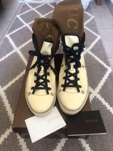 GUCCI Patent Leather Sneakers White /Black Color Sz EU 39,5 Us 8,5
