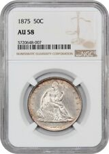 1875 50c NGC AU58 - Nice Slider - Liberty Seated Half Dollar - Nice Slider