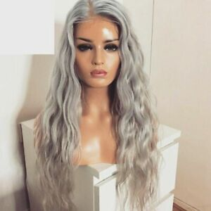 "24"" Handtied Light Grey Synthetic Hair GlueLess Lace Front Wig Long Curly Wavy"