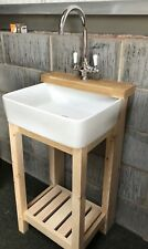 Complete Set , Wooden Stand , Baby Belfast Sink & Lever Tap Ideal Smaller Spaces