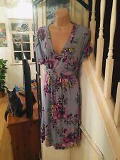 Stunning Plus Size Vintage Style Tea Dress Duck Egg Blue Floral 20-22