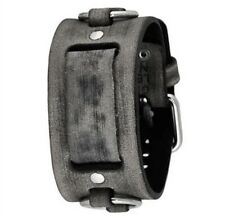 Nemesis Faded Grey Ring Leather Watch Cuff Band FRB-L Vintage Style 20mm