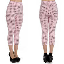 Hell Bunny Kay Pink Polka Dot Capri Trousers 1950's Rockabilly Vintage Pin Up