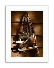 OLD ICE HOCKEY SKATES SEPIA PHOTO Poster Picture Sport Canvas art Prints