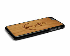 Handcrafted Wood iPhone 6 Plus Case with Soft Rubber Sides by Nuwoods, Anchor