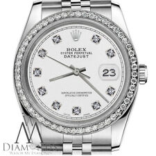 Diamond Rolex 36mm Datejust White Dial Stainless Steel Classic Jubilee Watch