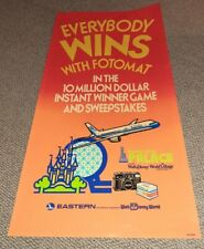 Vintage Everybody Wins Fotomat Eastern Airlines Disney World Poster ADVERTISING