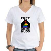 CafePress Free Mom Hugs (Long) T Shirt Womens Cotton V-Neck T-shirt (2019471966)