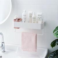Bathroom Wall Organizer Shower Caddy Adhesive Towel Rack Toothbrush Holder Pink