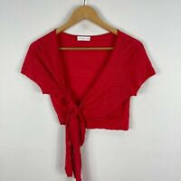 Kookai Womens Linen Top Free Size Red Short Sleeve V-Neck Tie Closure Cropped