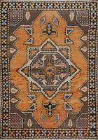 Vintage Tribal Geometric Anatolian Turkish Area Rug Handmade Oriental Carpet 4x6