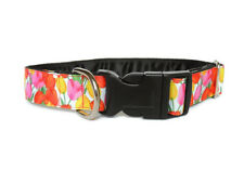 Clip dog collar 1 inch. Side release. Tulips