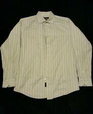 Murano Italian Fabric Long Sleeve Striped Button Down Dress Shirt Mens Medium
